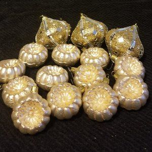 12 Gold Glittery Glass, 3 Lg Embellished Ornaments